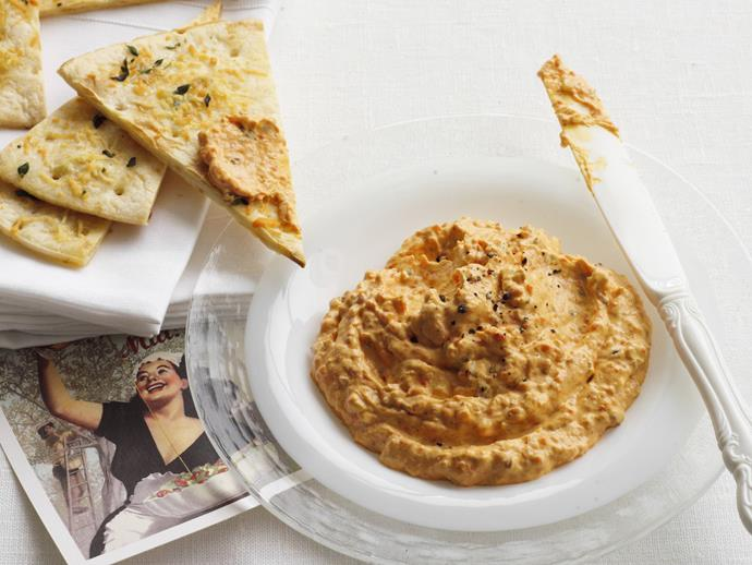 "**[Roasted capsicum and walnut dip](https://www.womensweeklyfood.com.au/recipes/roasted-capsicum-and-walnut-dip-28520|target=""_blank"")**"