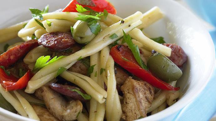 chicken, chorizo and capsicum with casarecci