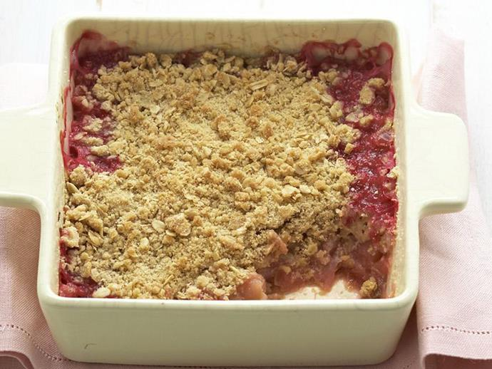 "**[Rhubarb, apple and pear crumble](https://www.womensweeklyfood.com.au/recipes/rhubarb-apple-and-pear-crumble-6198|target=""_blank"")**"
