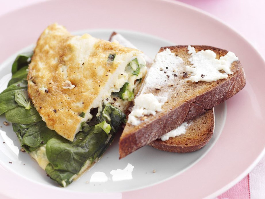 "**[Spinach omelette](https://www.womensweeklyfood.com.au/recipes/spinach-omelette-6207|target=""_blank"")** Healthy and delicious, the perfect breakfast for when you want to fill up but also are watching your diet."