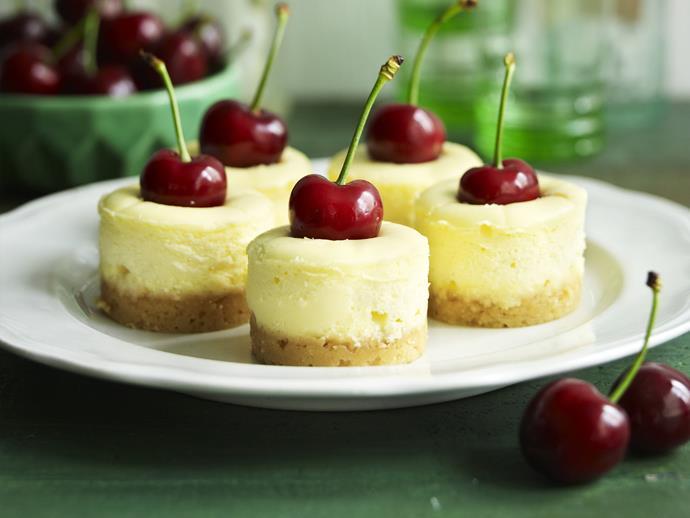 "**[White chocolate and cherry cheesecakes](https://www.womensweeklyfood.com.au/recipes/white-chocolate-and-cherry-cheesecakes-14512|target=""_blank"")**"