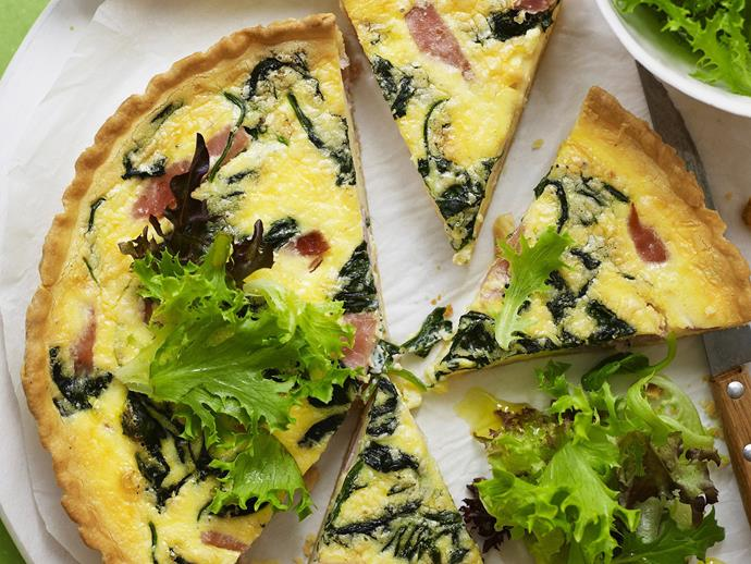 "**[Ham and spinach quiche](https://www.womensweeklyfood.com.au/recipes/ham-and-spinach-quiche-14576|target=""_blank"")**"