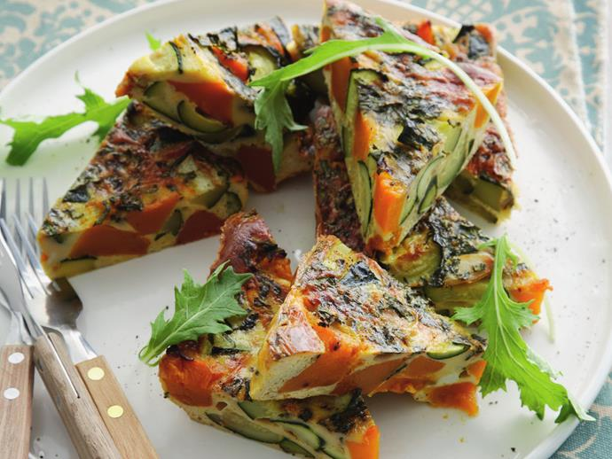 "Perfect as lunch, a light dinner, afternoon tea or in a lunch box, [roast pumpkin and zucchini frittata](https://www.womensweeklyfood.com.au/recipes/roast-pumpkin-and-zucchini-frittata-14051|target=""_blank"") is a healthy, delicious and flexible dish."
