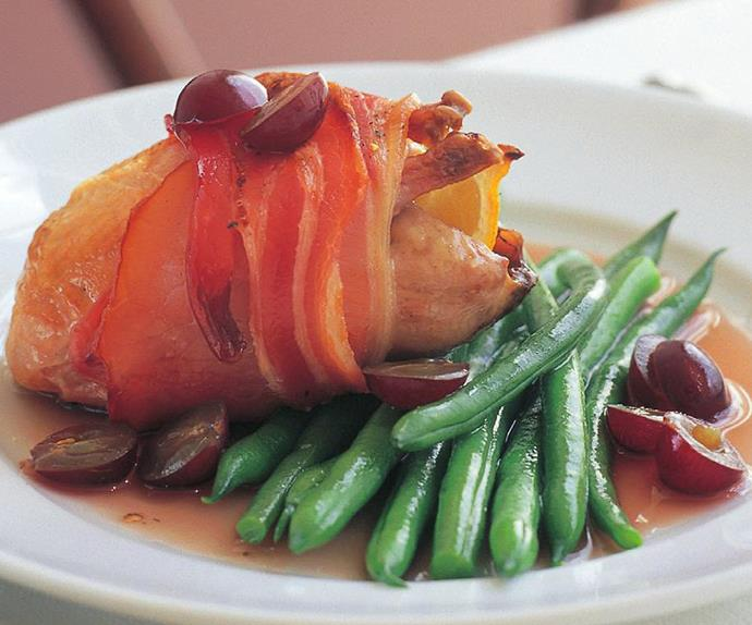 Bacon-wrapped quail with grape sauce
