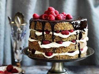 Poppy seed AND HAZELNUT CAKE with raspberry mascarpone