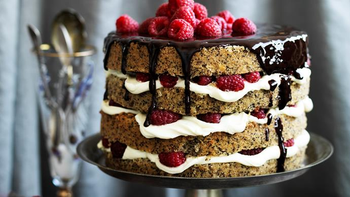 Poppy seed AND HAZELNUT CAKE with raspberry mascarpone