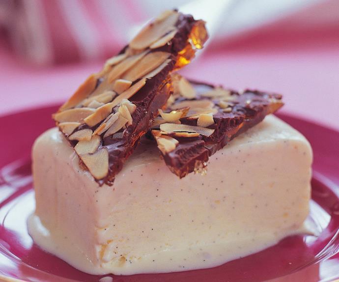 vanilla bean ice-cream with choc-almond crunch
