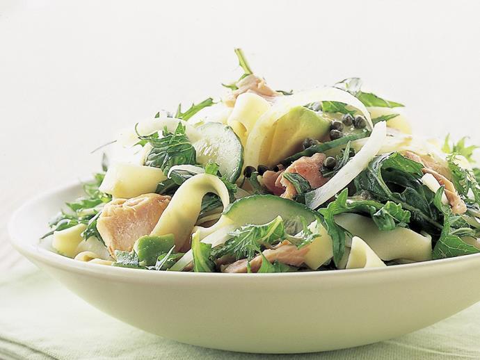 "**[Hot-smoked salmon salad](https://www.womensweeklyfood.com.au/recipes/hot-smoked-salmon-salad-14176|target=""_blank"")**"