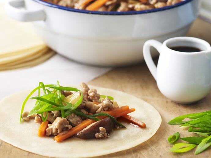 """**[Pork and vegie pancakes (mu shu pork pancakes)](https://www.womensweeklyfood.com.au/recipes/pork-and-vegie-pancakes-6001