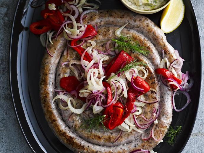 "**[Sausage spiral with grilled capsicum and whipped white beans](https://www.womensweeklyfood.com.au/recipes/sausage-spiral-with-grilled-capsicum-and-whipped-white-beans-6018|target=""_blank"")**"