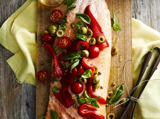 BARBECUED SALMON withCapsicumandOliveSalsa