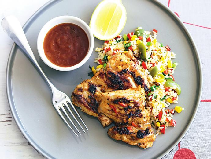 """**[Grilled Portuguese chicken and spiced rice](https://www.womensweeklyfood.com.au/recipes/grilled-portuguese-chicken-27751 target=""""_blank"""")**  Take some inspiration from Portugal with this spicy aromatic chicken and rice dish seasoned with paprika, oregano, chilli and garlic"""