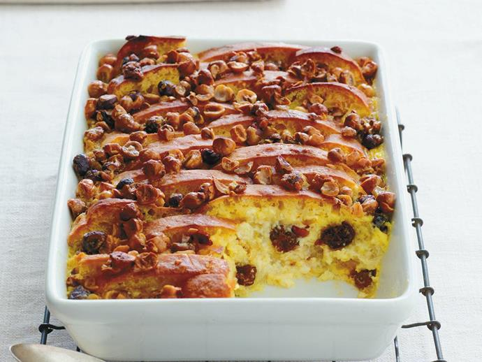 """**[Hazelnut and raisin bread and butter pudding](https://www.womensweeklyfood.com.au/recipes/hazelnut-and-raisin-bread-and-butter-pudding-13819