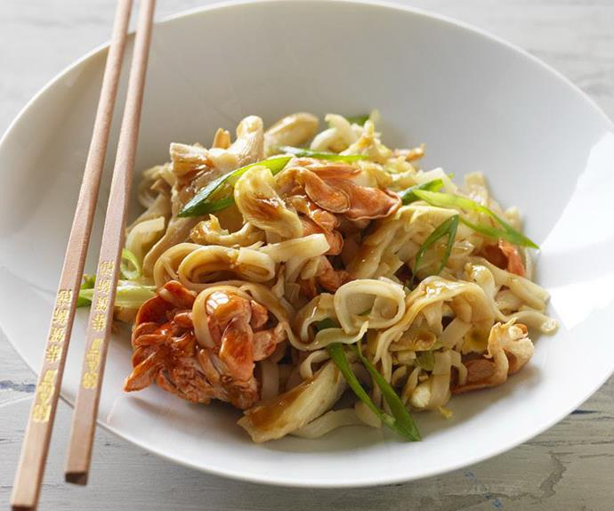 Mixed oyster mushroom and ginger noodles