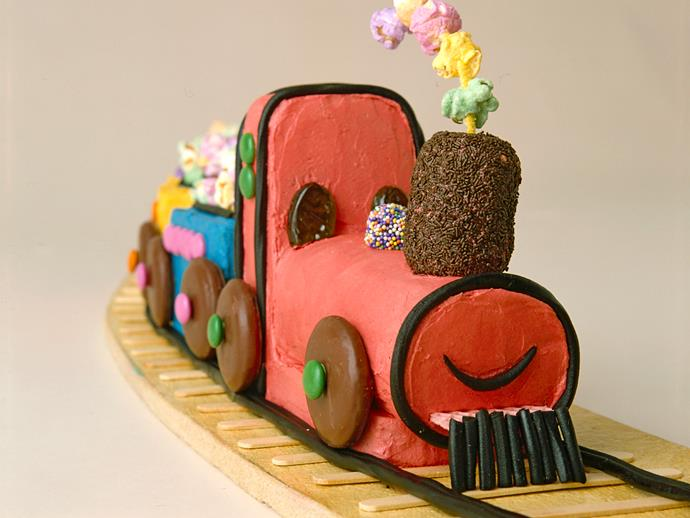 """[Choo-choo train birthday cake](https://www.womensweeklyfood.com.au/recipes/choo-choo-train-birthday-cake-26787