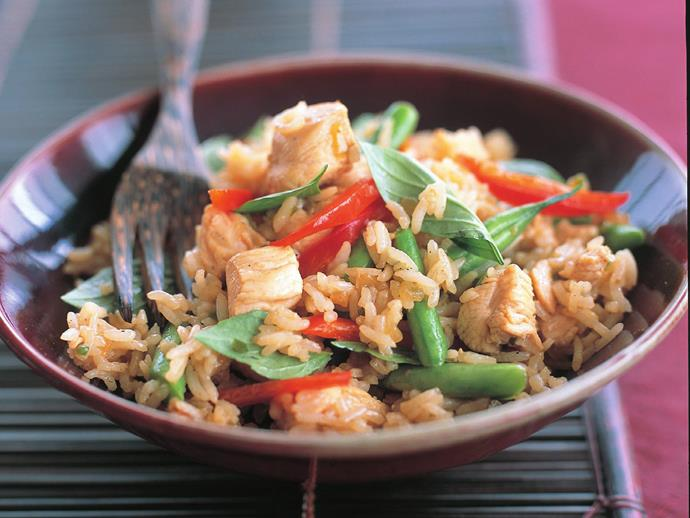 """**[Chicken and thai basil fried rice](https://www.womensweeklyfood.com.au/recipes/chicken-and-thai-basil-fried-rice-13447