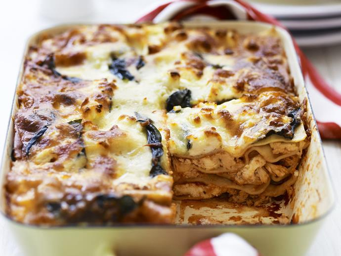 "**[Chicken and ricotta lasagne](https://www.womensweeklyfood.com.au/recipes/chicken-and-ricotta-lasagne-13459|target=""_blank"")**"