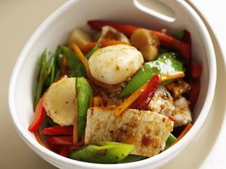 Fish and scallop stir-fry
