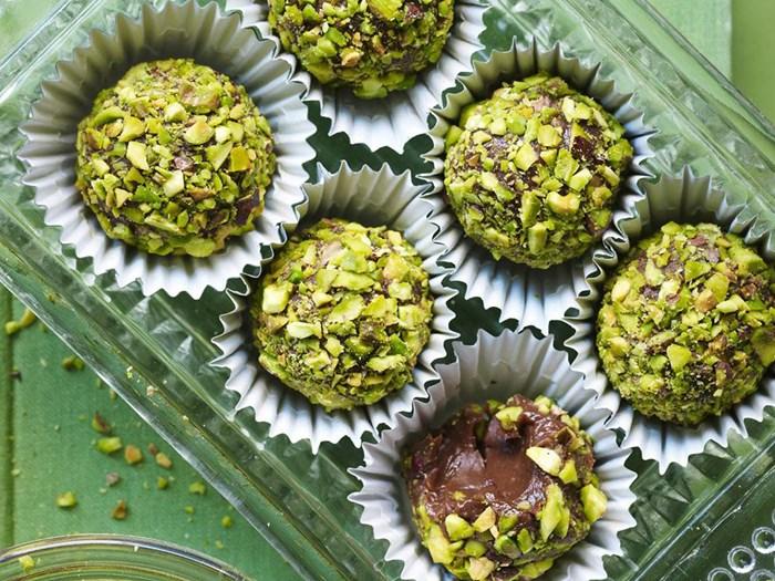 salted pistachio truffles