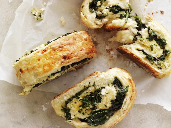 "**[Spinach and fetta damper](https://www.womensweeklyfood.com.au/recipes/spinach-and-damper-fetta-5361|target=""_blank"")**"