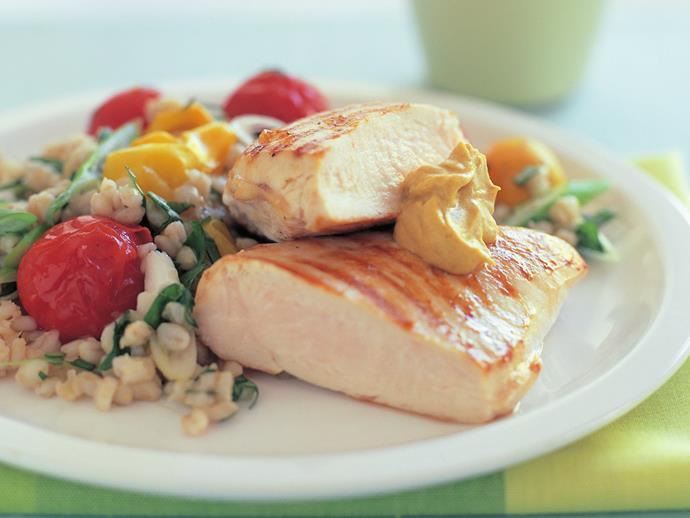 "This low-GI [grilled chicken with barley pilaf](https://www.womensweeklyfood.com.au/recipes/grilled-chicken-with-barley-pilaf-15457|target=""_blank"") will satisfy everyone from the health conscious, to the just plain hungry. It is full of flavour and goodness, and perfect for a midweek family meal."