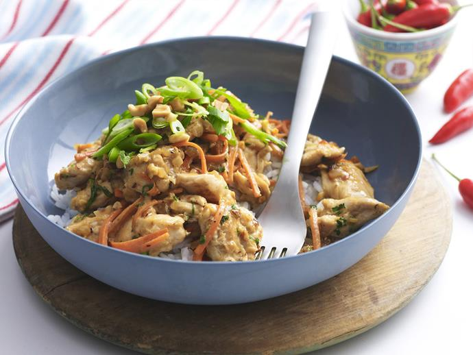 "**[Satay chicken](https://www.womensweeklyfood.com.au/recipes/satay-chicken-12775|target=""_blank"")**  Delicious sweet and nutty satay chicken; an authentic Asian-style dish."