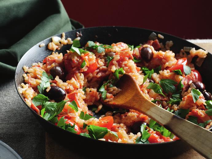 """**[Salami and tomato risotto](https://www.womensweeklyfood.com.au/recipes/salami-and-tomato-risotto-5281
