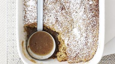 Hazelnut butterscotch self-saucing pudding