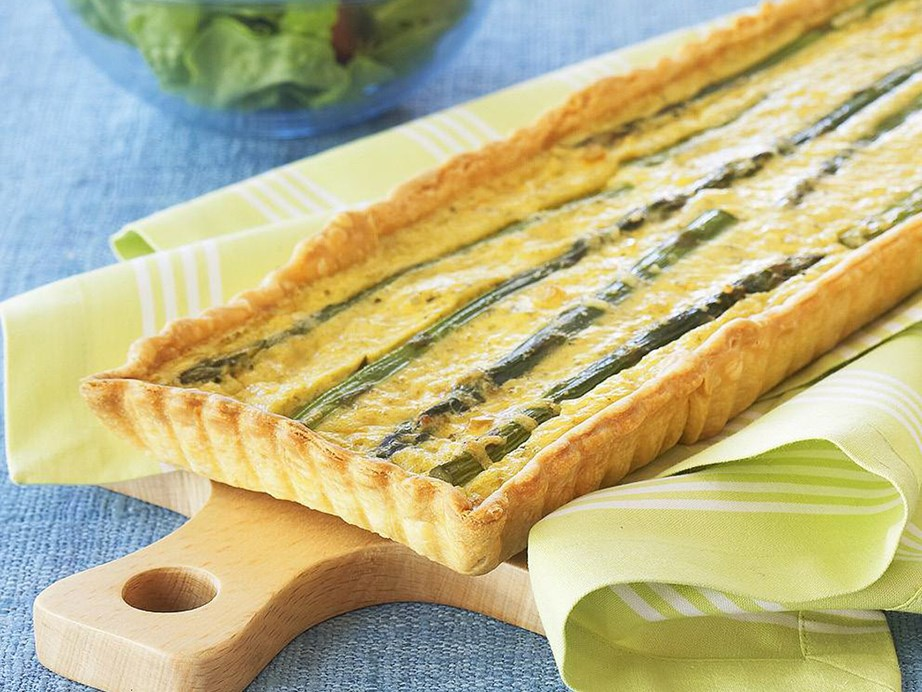 "Lunch, brunch or dinner - there is not bad time for this **[pesto asparagus tart](https://www.womensweeklyfood.com.au/recipes/pesto-asparagus-tart-5311|target=""_blank"")**."