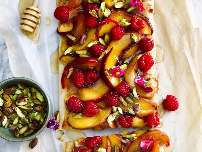 "There's no need to make your own pastry with this [peach and nectarine tart](https://www.womensweeklyfood.com.au/recipes/peach-and-nectarine-tart-12459|target=""_blank""); we think the store bought stuff will do. No one will notice, because the topping is just so good! Serve either warm or cool with thick double cream"
