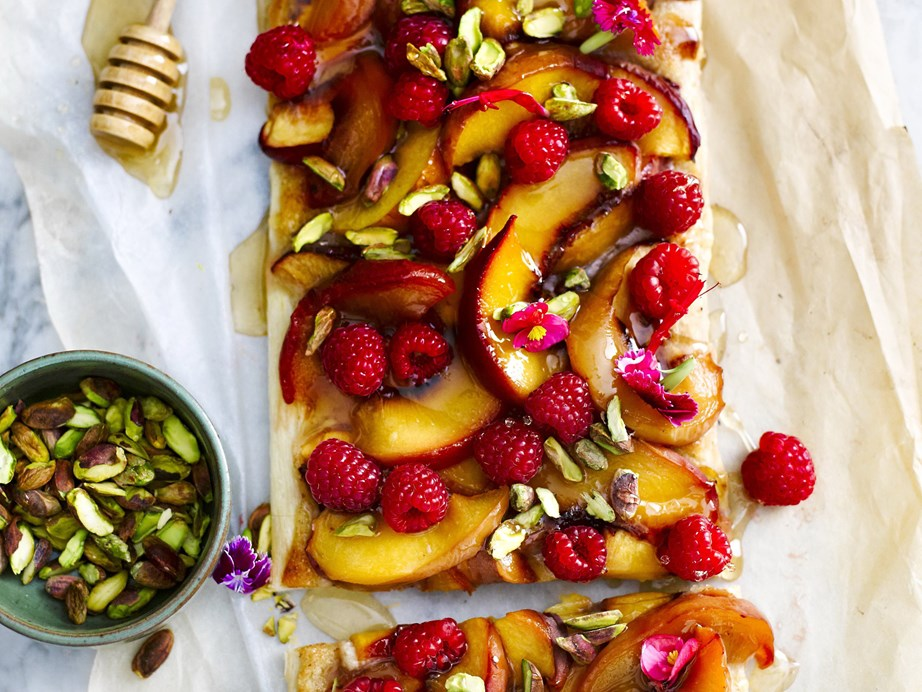 "**[Peach and nectarine tart](https://www.womensweeklyfood.com.au/recipes/peach-and-nectarine-tart-12459|target=""_blank"")** There's no need to make your own pastry with this peach and nectarine tart; we think the store bought stuff will do. No one will notice, because the topping is just so good! Serve either warm or cool with thick double cream."