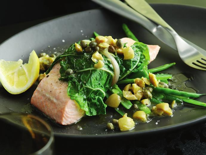 "**[Salmon in silverbeet with lemon, olive and caper sauce:](https://www.womensweeklyfood.com.au/recipes/steamed-salmon-in-silverbeet-with-lemon-olive-and-caper-sauce-5161|target=""_blank"")** This simple and flavoursome sauce can be used for any steamed fish. We used salmon, but any firm white fish will work."
