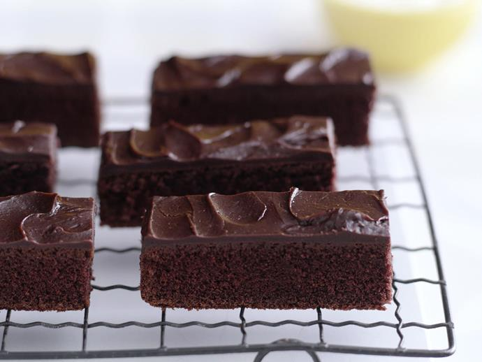 "Cut this rich [chocolate velvet cake](https://www.womensweeklyfood.com.au/recipes/chocolate-velvet-cake-with-chocolate-glaze-12624|target=""_blank"") with chocolate glaze into little finger sized sliced for an elegant afternoon tea plate."