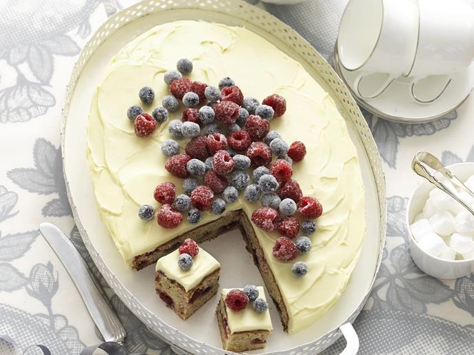 "**[Mixed berry hazelnut cake](https://www.womensweeklyfood.com.au/recipes/mixed-berry-hazelnut-cake-5040 target=""_blank"")**"