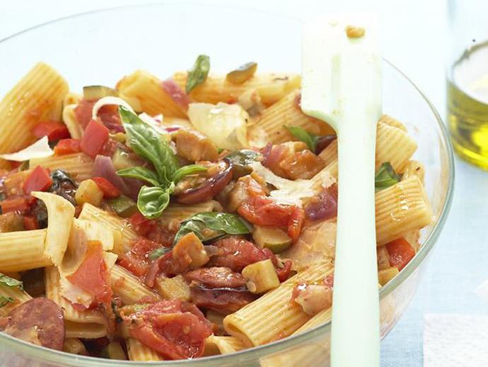 "**[Ratatouille pasta salad](https://www.womensweeklyfood.com.au/recipes/ratatouille-pasta-salad-5050|target=""_blank"")**"