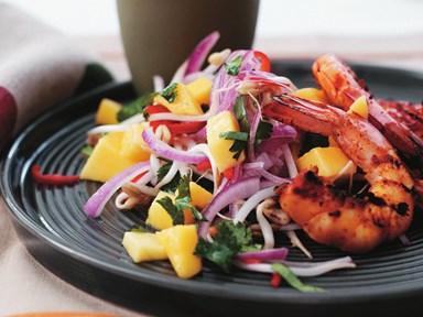 Barbecued chilli prawns with fresh mango salad