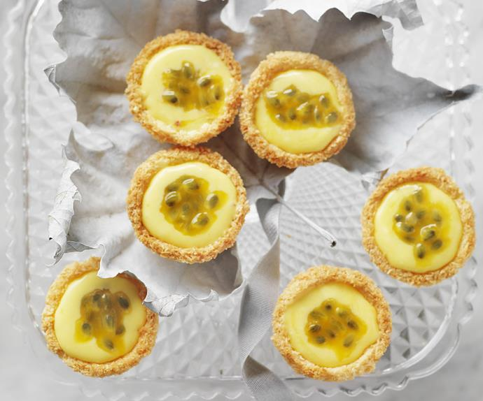 PASSIONFRUIT CURD and Coconut Tarts