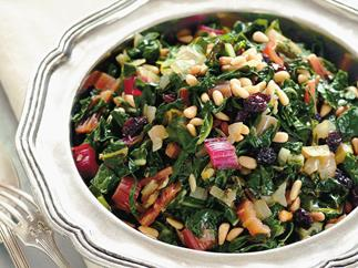 Rainbow silver beet with pine nuts, garlic and raisins