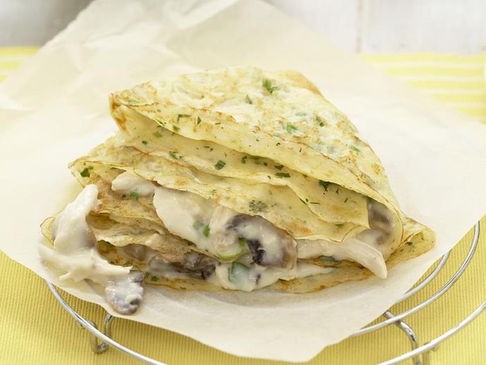 "**[Creamy chicken crêpes](https://www.womensweeklyfood.com.au/recipes/creamy-chicken-crepes-11787|target=""_blank"")**"