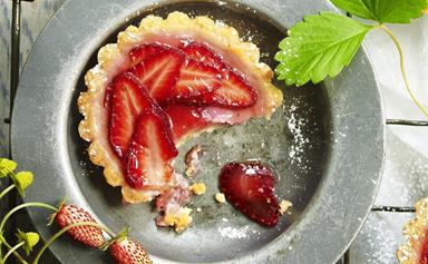 Rhubarb and strawberry custard tarts