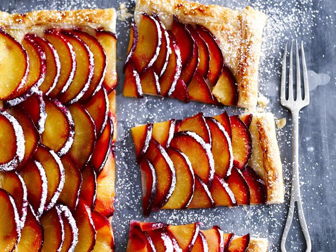"**[Quick and easy plum tart](https://www.womensweeklyfood.com.au/recipes/quick-and-easy-plum-tart-11712|target=""_blank"")**  Sliced stoned fruit encased by this fluffy and buttery puff pastry becomes a treat that is just simply good."