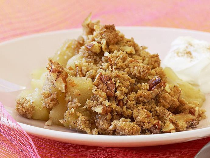 "This crunchy [apple and pecan crumble](https://www.womensweeklyfood.com.au/recipes/caramel-apple-and-pecan-crumble-11298|target=""_blank"") is heavenly served with runny cream or a big scoop of vanilla ice-cream."