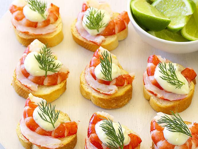 "**[Prawn croutes with lime aioli](https://www.womensweeklyfood.com.au/recipes/prawn-croutes-with-lime-aioli-15014|target=""_blank"")**  Add a touch of sophistication to your next gathering with these prawn croutes with lime aioli. They look and taste amazing. Lime aioli can be prepared in advance, and prawns can be shelled several hours ahead."
