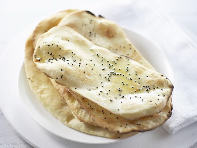 "**[Naan bread](https://www.womensweeklyfood.com.au/recipes/naan-bread-15015|target=""_blank"")**"