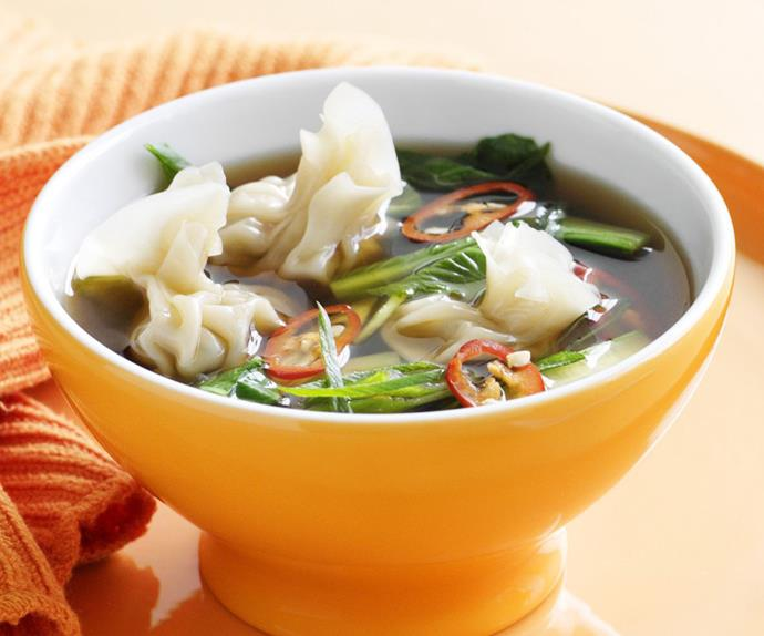 asian broth with prawn dumplings