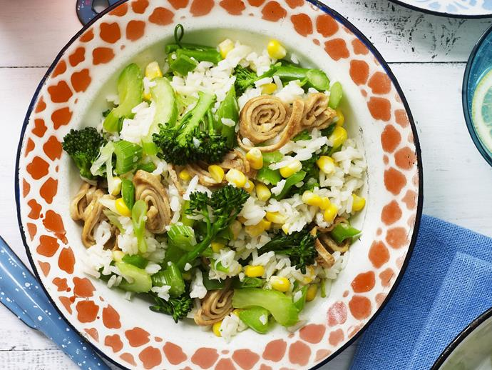 """A healthy and simple [mixed vegetable and stir-fried rice dish](https://www.womensweeklyfood.com.au/recipes/mixed-vegetable-stir-fried-rice-4619