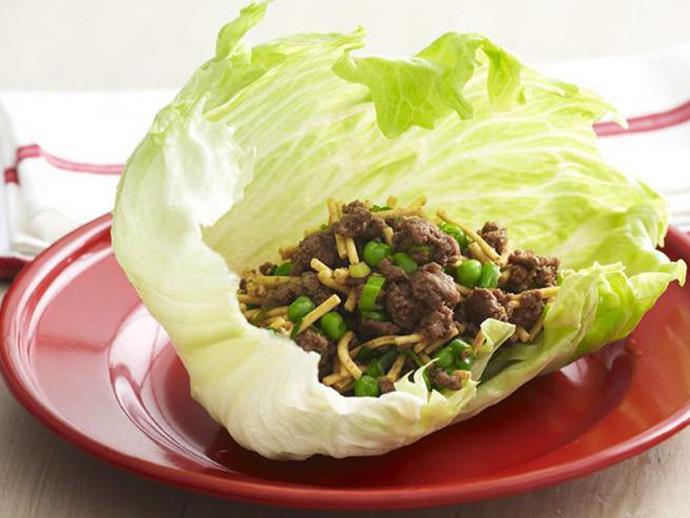 "**[Crispy beef sang choy bow](https://www.womensweeklyfood.com.au/recipes/crispy-beef-sang-choy-bow-11107|target=""_blank"")**  Iceberg lettuce cups and crispy fried noodles add delicious crunch to this quick and easy crispy beef san choy bow recipe."