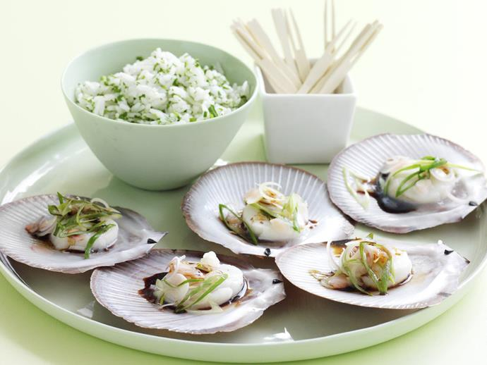 "**[Scallops with pickled ginger](https://www.womensweeklyfood.com.au/recipes/scallops-with-pickled-ginger-4651|target=""_blank"")**"