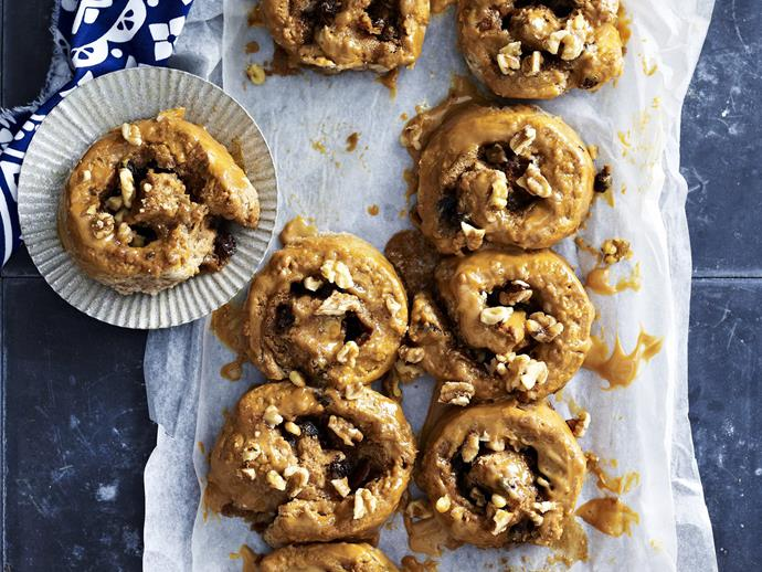 "**[Banana caramel scrolls](https://www.womensweeklyfood.com.au/recipes/banana-caramel-scrolls-11200|target=""_blank"")**  Filled with coffee-soaked sultanas and chopped walnuts, these banana caramel scrolls are a decadent morning sweet treat."