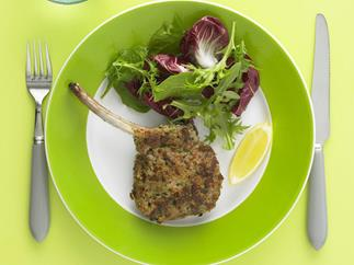 Haloumi-crumbed veal cutlets